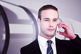 Composite image of portrait of businessman on the phone