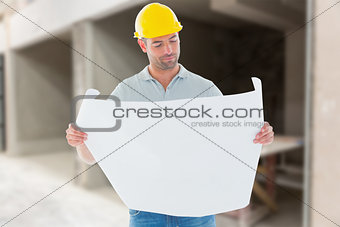 Composite image of architect reading plan