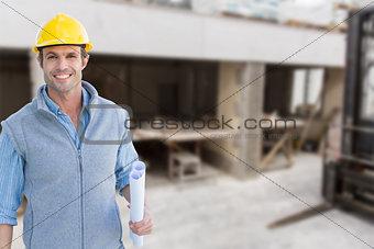 Composite image of happy architect