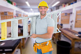 Composite image of portrait of smiling repairman carrying ladder
