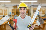 Composite image of portrait of happy worker holding various equipment