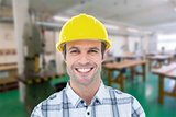 Composite image of architect wearing hardhat over white background