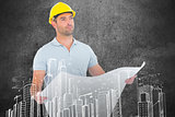 Composite image of thoughtful male architect holding blueprint
