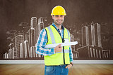 Composite image of portrait of smiling architect holding blueprint