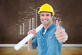 Composite image of architect holding blueprint while gesturing thumbs up