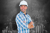 Composite image of smiling male worker standing arms crossed