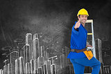 Composite image of repairman gesturing thumbs up while climbing step ladder