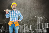 Composite image of thoughtful worker carrying wooden planks