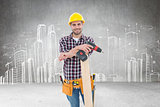 Composite image of confident male carpenter with drill machine and plank
