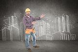 Composite image of handyman showing something