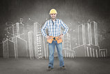 Composite image of confident repairman standing with hands on hips