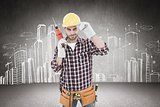 Composite image of confident handyman holding drill machine