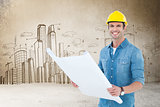 Composite image of happy architect holding blueprint in house