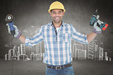 Composite image of manual worker holding power tools