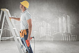 Composite image of handyman on ladder