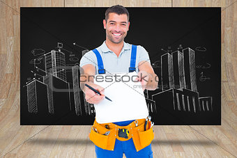 Composite image of smiling handyman giving clipboard for signature