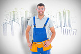 Composite image of confident manual worker