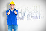 Composite image of portrait of happy manual worker gesturing thumbs up