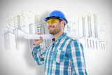 Composite image of smiling architect looking away while holding blueprint