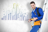 Composite image of happy construction worker leaning on ladder