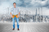 Composite image of repairman with tool belt around waist