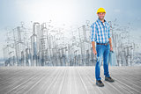 Composite image of manual worker with hammer and toolbox