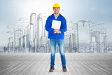 Composite image of full length portrait of happy manual worker with clipboard