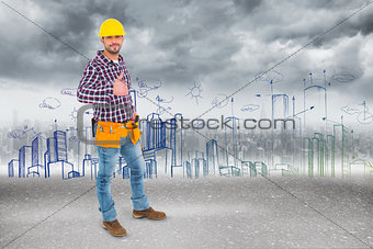 Composite image of smiling handyman gesturing thumbs up