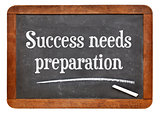 Success needs preparation on blackboard
