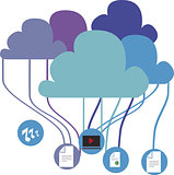 Vector illustration of files connected to a cloud.