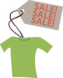 Vector illustration. Shirt with sale announcement