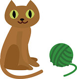 Vector illustration of a cat with wool ball.