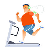 Fat man on a stationary treadmill