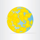 globe world map with yellow flowers abstract energy earth