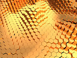golden hexagons background