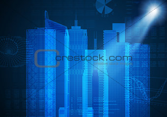 Abstract blue background with cityscape sketch