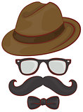 Set hipster accessories - hat, glasses, mustache, bow tie