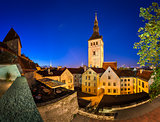 Evening View of Old Town and Saint Nicholas (Niguliste) Church in Tallinn, Estonia