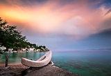 Rainbow over the White Stone Boat and Small Village in Omis Riviera, Croatia