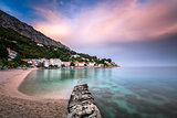 Beautiful Adriatic Beach and Mimice Village on Omis Riviera in D
