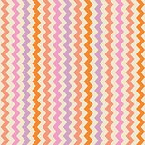 Chevron vector seamless colorful pattern or tile background with zig zag violet, pink and orange stripes on beige background.