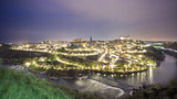 Wide angle view of Toledo city at night