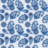 Vector Seamless Paisley Pattern in blue