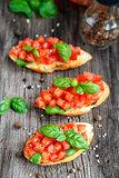 Tomato bruschetta with tomatoes and basil
