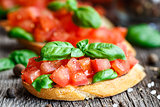 Tomato bruschetta with tomatoes and basil
