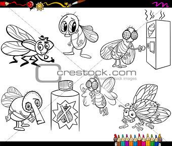 flies set cartoon coloring page
