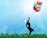 Lady playing with balloons
