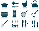 Set kitchen utensil icon