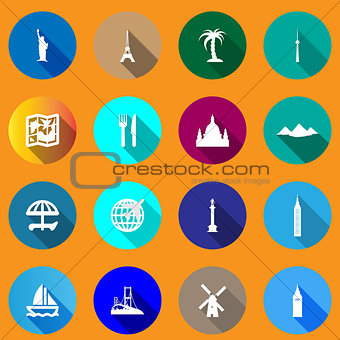 Flat icons for travel.