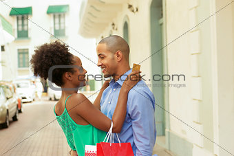 African American Couple Shopping With Credit Card In Panama